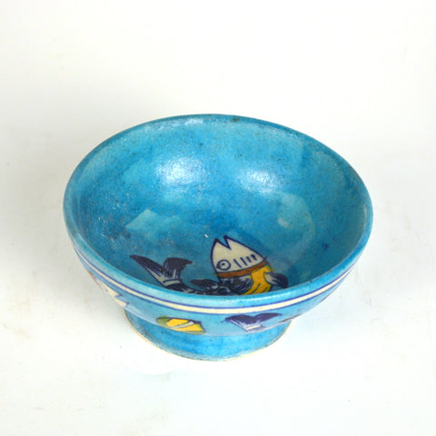 Ceramic Round Blue Bowl with Fish Design - FOLKBRIDGE.COM | Buy Gifts. Indian Handicrafts. Home Decorations.