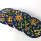 Ceramic Dark Blue Floral Round Coasters, Set of Four - FOLKBRIDGE.COM | Buy Gifts. Indian Handicrafts. Home Decorations.