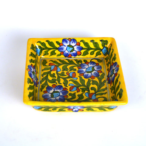 Ceramic Multicolored Square Bowl - FOLKBRIDGE.COM | Buy Gifts. Indian Handicrafts. Home Decorations.