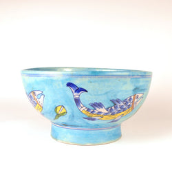 Ceramic Blue and Multicolored Round Bowl - FOLKBRIDGE.COM | Buy Gifts. Indian Handicrafts. Home Decorations.