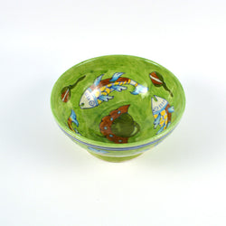 Ceramic Round Small Green Bowl with Fish Design  - FOLKBRIDGE.COM | Buy Gifts. Indian Handicrafts. Home Decorations.