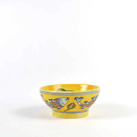Ceramic Round Small Yellow Bowl with Fish Design  - FOLKBRIDGE.COM | Buy Gifts. Indian Handicrafts. Home Decorations.