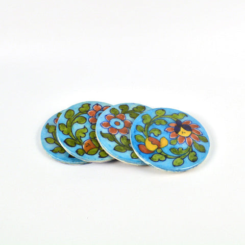 Ceramic Floral Round Blue Coasters  - FOLKBRIDGE.COM | Buy Gifts. Indian Handicrafts. Home Decorations.