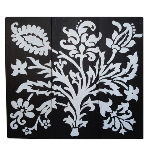 3 Panel Black and White Painting - FOLKBRIDGE.COM | Buy Gifts. Indian Handicrafts. Home Decorations.