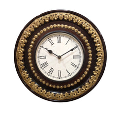 Wooden Wall Clock With Brass Embellishments - FOLKBRIDGE.COM | Buy Gifts. Indian Handicrafts. Home Decorations.