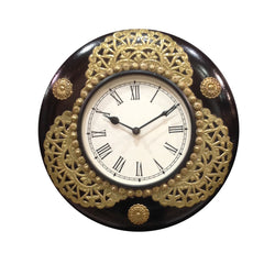 Wooden Wall Clock With Intricate Brass Artwork - FOLKBRIDGE.COM | Buy Gifts. Indian Handicrafts. Home Decorations.