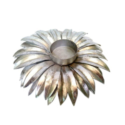 Floral Tea Light Holder, Silver Gerbera - FOLKBRIDGE.COM | Buy Gifts. Indian Handicrafts. Home Decorations.