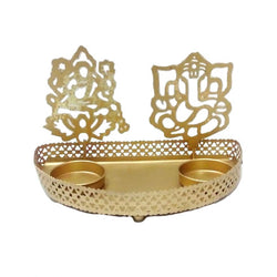 Golden  Ganesh And Laxmi Tea Light Holder - FOLKBRIDGE.COM | Buy Gifts. Indian Handicrafts. Home Decorations.