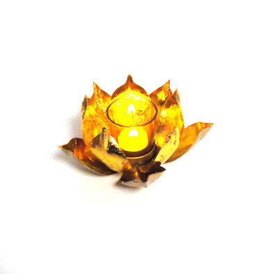 Lotus Glass Votive Candle Holder or Tea Light Holder - FOLKBRIDGE.COM | Buy Gifts. Indian Handicrafts. Home Decorations.