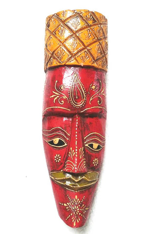 FBJ4N006_Wooden Painted Medium Face Mask