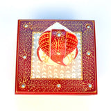 Marble Ganesh Idol on Square Chowki in Red and White - FOLKBRIDGE.COM | Buy Gifts. Indian Handicrafts. Home Decorations.