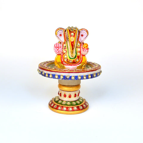 Stone Studded Marble Ganesh Idol on Round Chowki - FOLKBRIDGE.COM | Buy Gifts. Indian Handicrafts. Home Decorations.