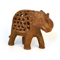 Brown Soap Stone Elephant Figurine, Small - FOLKBRIDGE.COM | Buy Gifts. Indian Handicrafts. Home Decorations.