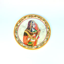 Marble Multicolored Left Face Lady Round Decorative Plate - FOLKBRIDGE.COM | Buy Gifts. Indian Handicrafts. Home Decorations.