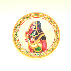 Marble Multicolored Right Face Lady Round Decorative Plate - FOLKBRIDGE.COM | Buy Gifts. Indian Handicrafts. Home Decorations.