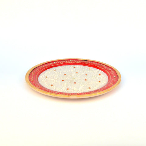 Stone Studden Round Red Marble Decorative Plate - FOLKBRIDGE.COM | Buy Gifts. Indian Handicrafts. Home Decorations.