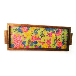Floral Wooden Rectangular Serving Tray Or Decorative Trays - FOLKBRIDGE.COM | Buy Gifts. Indian Handicrafts. Home Decorations.