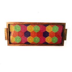 Wooden Multicolored Hexagon Design Serving Tray Or Decorative Trays - FOLKBRIDGE.COM | Buy Gifts. Indian Handicrafts. Home Decorations.
