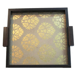 Gold Brocade Square Serving Tray Or Decorative Trays - FOLKBRIDGE.COM | Buy Gifts. Indian Handicrafts. Home Decorations.