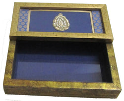 Wooden Tissue Box Holder or Napkin Holder, Blue Brocade with Golden Frame - FOLKBRIDGE.COM | Buy Gifts. Indian Handicrafts. Home Decorations.