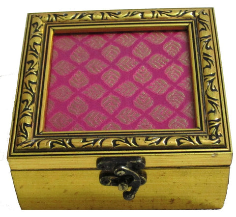 Pink Brocade Small Square Wooden Box - FOLKBRIDGE.COM | Buy Gifts. Indian Handicrafts. Home Decorations.