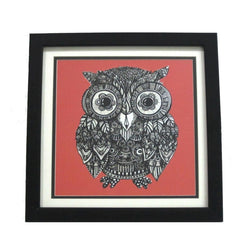 Red Owl Digital Prints Or Wall Hanging - FOLKBRIDGE.COM | Buy Gifts. Indian Handicrafts. Home Decorations.