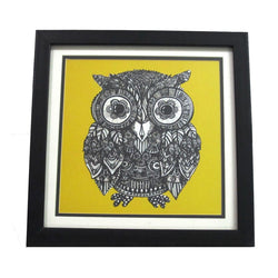 Yellow Owl Digital Prints Or Wall Hanging - FOLKBRIDGE.COM | Buy Gifts. Indian Handicrafts. Home Decorations.
