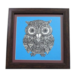 Blue Owl Digital Prints Or Wall Hanging - FOLKBRIDGE.COM | Buy Gifts. Indian Handicrafts. Home Decorations.