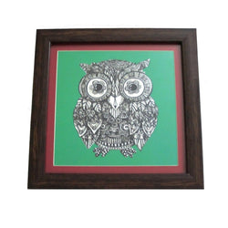 Green Owl Digital Prints Or Wall Hanging - FOLKBRIDGE.COM | Buy Gifts. Indian Handicrafts. Home Decorations.