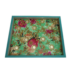 Embellished Flowers Wooden Serving Tray Or Decorative Trays - FOLKBRIDGE.COM | Buy Gifts. Indian Handicrafts. Home Decorations.