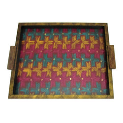 Bright Multicoloured Embroidered Wooden Serving Tray  - FOLKBRIDGE.COM | Buy Gifts. Indian Handicrafts. Home Decorations.