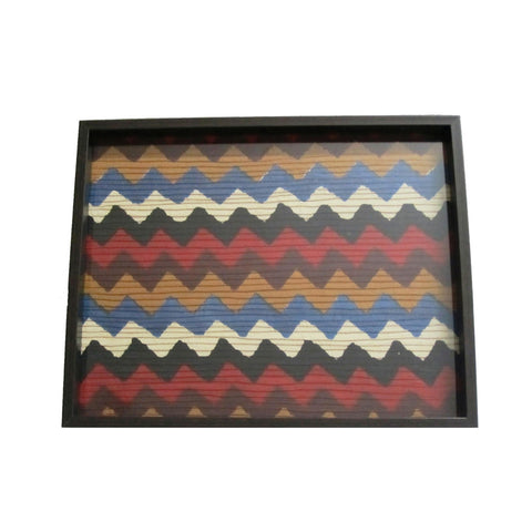 Multicoloured Wavy Pattern Printed Wooden Tray - FOLKBRIDGE.COM | Buy Gifts. Indian Handicrafts. Home Decorations.