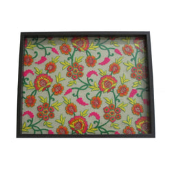 Floral Embroidered Wooden Serving Tray Small - FOLKBRIDGE.COM | Buy Gifts. Indian Handicrafts. Home Decorations.