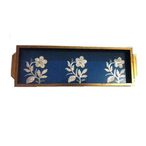 Blue Rectangular Wooden Tray With Flower Motif - FOLKBRIDGE.COM | Buy Gifts. Indian Handicrafts. Home Decorations.