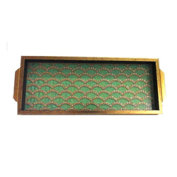 Green Wave Pattern Wooden Tray - FOLKBRIDGE.COM | Buy Gifts. Indian Handicrafts. Home Decorations.