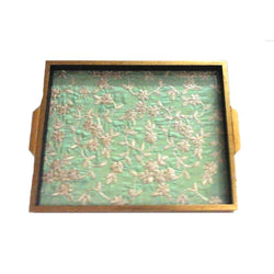 Floral Embroidery Green Wooden Serving Tray - FOLKBRIDGE.COM | Buy Gifts. Indian Handicrafts. Home Decorations.