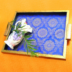 Wooden Royal Blue Serving Tray With Ethnic Motifs - FOLKBRIDGE.COM | Buy Gifts. Indian Handicrafts. Home Decorations.