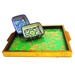 Square Bright Green Tray With Golden Embroidered Motifs - FOLKBRIDGE.COM | Buy Gifts. Indian Handicrafts. Home Decorations.