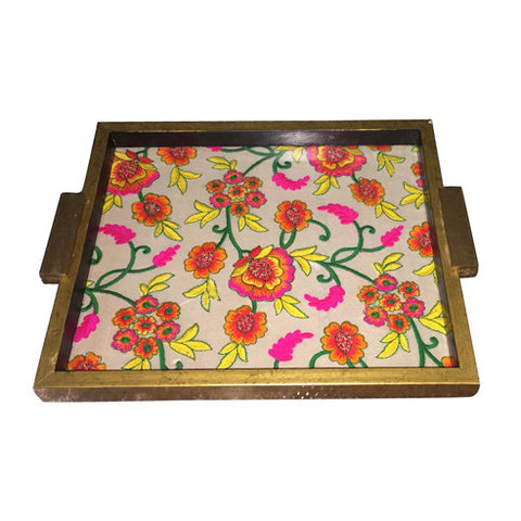 Hand Crafted Wooden Golden Tray With Yellow And Pink Flower Motif - FOLKBRIDGE.COM | Buy Gifts. Indian Handicrafts. Home Decorations.