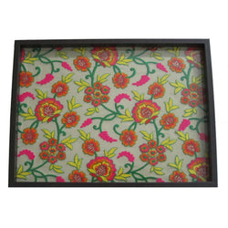 Floral Embroidered Wooden Serving Tray Large - FOLKBRIDGE.COM | Buy Gifts. Indian Handicrafts. Home Decorations.