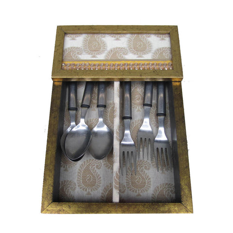 Rustic Wooden Cutlery Box with Yellow Border  - FOLKBRIDGE.COM | Buy Gifts. Indian Handicrafts. Home Decorations.