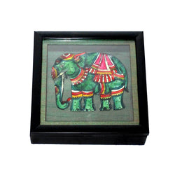 Andhra's Leather Cut Elephant Square Box  - FOLKBRIDGE.COM | Buy Gifts. Indian Handicrafts. Home Decorations.
