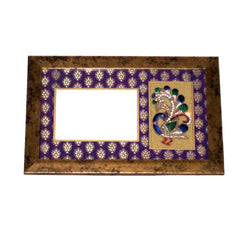 Wooden Peacock Patterned Photo Frame, Purple - FOLKBRIDGE.COM | Buy Gifts. Indian Handicrafts. Home Decorations.