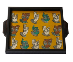 Kalamkari Serving Tray with Colourful Hand Mudra on Yellow Background