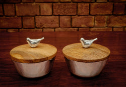 Metal Serving Bowls with Bird on Wooden Lid, Set of Two - FOLKBRIDGE.COM | Buy Gifts. Indian Handicrafts. Home Decorations.