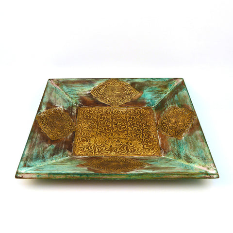 Wooden and Brass Square Green Tray, Large - folkbridge.com | Buy Gifts. Indian Handicrafts. Home Decorations.