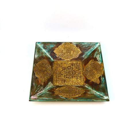 Wooden and Brass Square Green Tray, Small - FOLKBRIDGE.COM | Buy Gifts. Indian Handicrafts. Home Decorations.