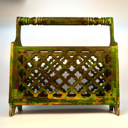 Wooden and Green Magazine Holder - FOLKBRIDGE.COM | Buy Gifts. Indian Handicrafts. Home Decorations.