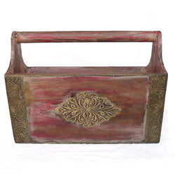Wooden and Brass Red Magazine Holder - FOLKBRIDGE.COM | Buy Gifts. Indian Handicrafts. Home Decorations.