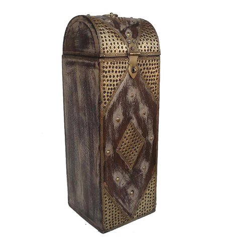 Wooden and Brass Brown Wine or Bottle Holder - FOLKBRIDGE.COM | Buy Gifts. Indian Handicrafts. Home Decorations.